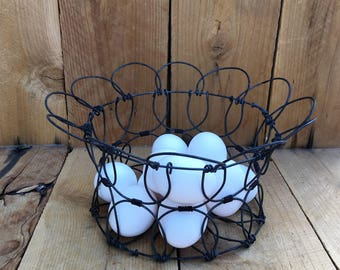 Vintage Wire Egg Basket Rustic Kitchen Decor