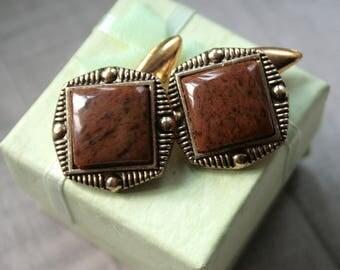 Brown cufflinks 70s classy cufflinks soviet ussr cufflinks russian geometric cufflinks antique unique cufflinks gold tone cufflinks