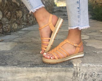 Women's Gladiator Sandals, Leather Sandals, Brown Sandals, Greek Sandals, Leather Flat Sandals, Women's Sandals, Made in Greece.