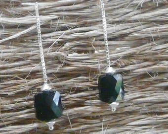 """Black"" square silver chain earrings"