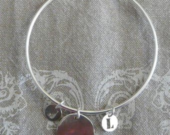 "Silver Bangle Bracelet ""Medal"" 62 mm and small initials"