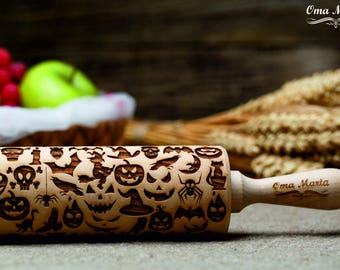 Halloween Rolling pin Engraved rolling pin Rolling pins Engraved rolling pin Embossed rolling pin Engraved rolling Halloween  pattern Pin