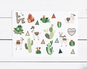 Large Llama Lovers Sticker Pack- 22 Stickers , Planner Stickers, Planner, Journal, Snailmail