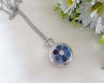 Glass dome cabochon silver plated Pocket Watch necklace