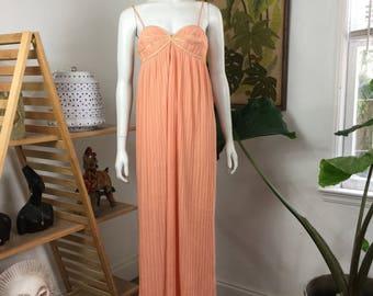 Vtg 70s 80s Bill Tice peach pleated column maxi dress grecian small