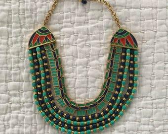 Vtg Hattie Carnegie enamel egyptian revival gold bib necklace