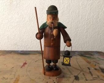 Vintage German Carved Wooden Incense Smoke, Erzgebirge Incense smoker man