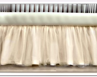Princess Ivory Taffeta & Tulle  3 Layer Crib Skirt with 2  layers of  Tulle! Tutu Ballerina style skirt - Many Colors! Any Length!