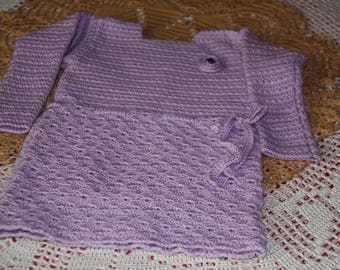 Purple girl's dress long sleeves of 9 / 12 months to hand made crochet