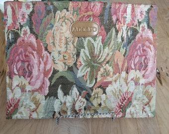 Vintage Clutch, Taperstry Bag, Floral Print, Aldfono, Large Clutch, Travel Bag, Grandma Bag, Pink, Green, Vintage Luggage, Makeup Bag