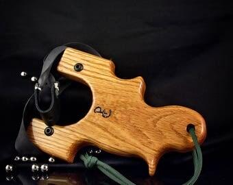 Wood Slingshot, Oak, Catapult, Hunting Custom Made Slingshot, Pocket Slingshot, Ergonomic for Large or Small Hands, Artisan Slingshot