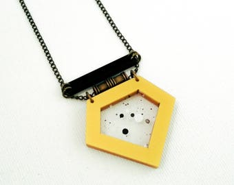 Geometric unique necklace ,bold gold  pendant, delicate statement necklace, contemporary jewelry, industrial jewelry