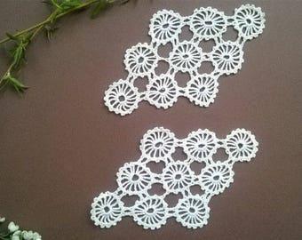 Тwo white Doilies,  crochet doilies, Rhombus,  Vintage 70s,  Crocheted Doilies   Handmade Doilies, Wedding doiles