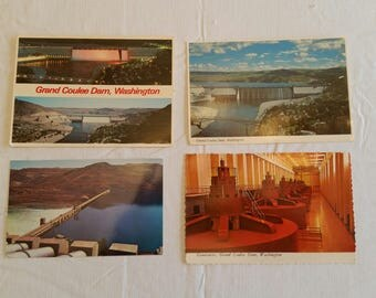 4 unused postcards grand coulee dam washington - post cards vintage electric powerhouse wa columbia basin photo pictures art gc1