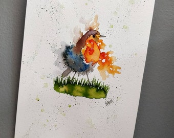 Robin original watercolour painting. A4.