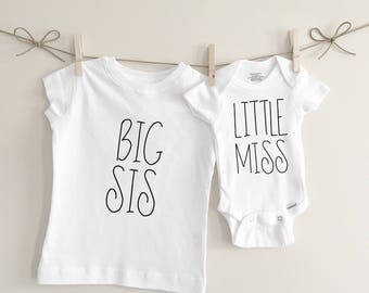 Big sis little miss sibling tshirts, sibling shirts, baby shower gift, big sister shirt, little sister, bodysuit