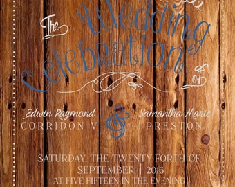 Wooden Rustic Wedding Invitations Suite
