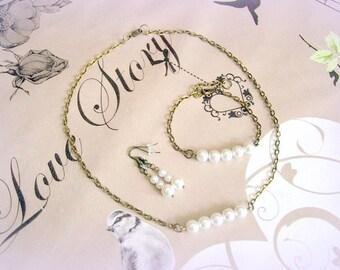 Set 3 pieces bronze style bracelet Earrings necklace romantic pearl beads, unique and original