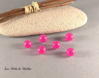 Set of 4 glass beads round - pink - 8mm - ref:z704