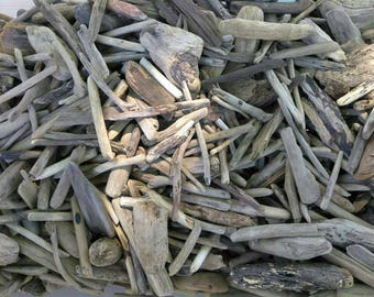 """ON SALE Bulk Lot of (50) SMALL 2-4"""" Pieces of Driftwood Pieces, Lake Erie, Great Lakes, Surf-Tumbled, Drift Wood ~ For Frames Wreaths Crafts"""