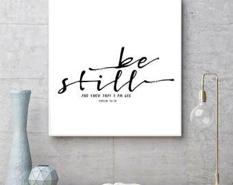 Be Still and Know that I am God, Psalm 46:10, Bible verse printable, Nursery Decor, Bible Verse Print, Kids Decor, Scripture Print,Christian