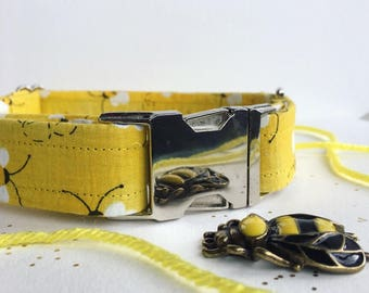 Dog Collar, Bee Collar, Bee Dog Collar, Yellow Dog Collar, Yellow Collar