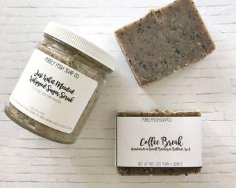 Coffee Body Scrub and Soap Set: Coffee Sugar Scrub, Coffee Body Scrub, Coffee Soap, Handmade Coffee Soap, Coffee Gift Set