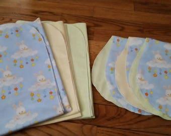 Newborn set 3 receiving blankets + 3 burp cloths