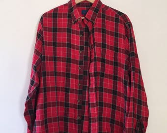 Vintage Men's Red Plaid Flannel