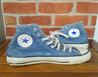 Vtg 80s Converse Made In USA Hi Top Sneakers | Vintage Retro Faded Worn Blue | Mens 8.5 | TUFF