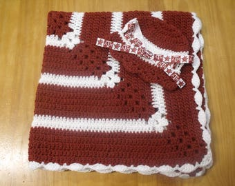 New Handmade Crochet Baby Blanket and Hat/Beanie Set - NCAA Texas A&M - A Wonderful Baby Shower Gift!! - SEE NOTE!