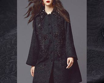 Classic and Chic Black Jacquard, Imported.
