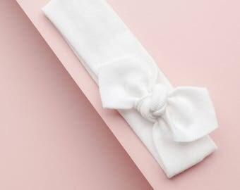 White Organic Baby Headband / Baby Headband / Baby Gift / Newborn Headband / Toddler Headband / Infant Headband / Baby Headwrap / Baby Bows