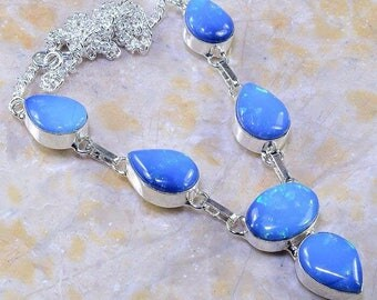 Milky Blue Fire Opal Necklace