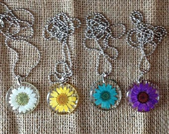 Sunflower Daisy Resin Necklace