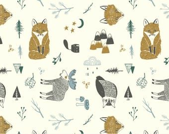 ORGANIC Jersey Knit Fabric - Woodland Animals in Mustard - UK Seller