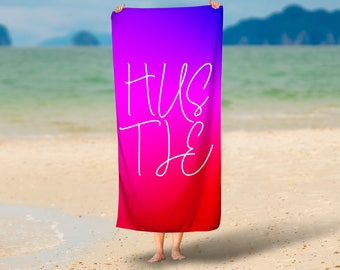 HUSTLE Colorful Summer Towel | Summer Towel Gift | Pool Towel | Beach Towel | Home Decor
