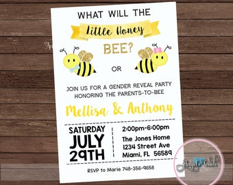 Bumble Bee Gender Reveal Party Invitation Bees Baby
