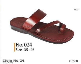 Simple Slip on Jesus sandals ,fine Leather sandals with a wide fit Made in  Jerusalem .