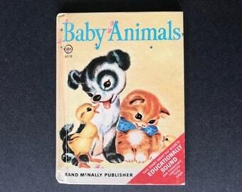 Baby Animals Vintage Rand McNally Children's Book 1955