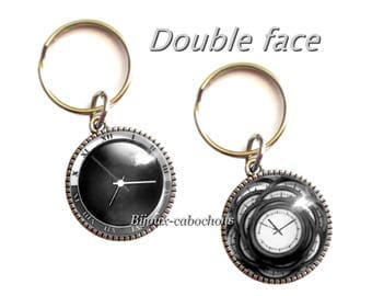 Keychain, Cabochon Clock Watch, Glass, Double Sided, black Color, Jewelry Bag