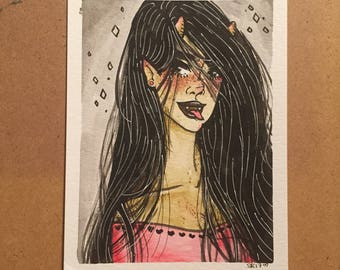 "TEETH | 4.5x6"" watercolor and ink painting"