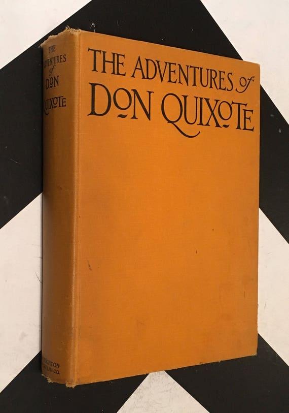 The Ingenious Nobleman Mister Quixote of La Mancha by Miguel de Cervantes Saavedra vintage yellow shabby chic fiction book (Hardcover, 1928)