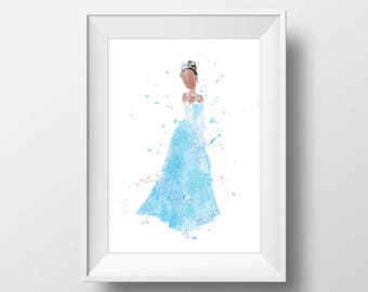 Wall Art Watercolor Disney  Tiana Print,Princess and Frog Print,Watercolor Disney Princess,Nursery Print,Printable Disney,Baby Gift, Decor