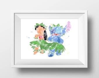 Wall Art Watercolor Lilo and Stitch Print,Watercolor Disney ,Nursery Print,Printable Disney,Baby Gift,Room Decor,Party Decor,Digital Print