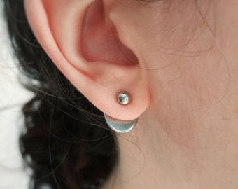 Stainless steel ear jacket. Stainless steel ball stud. Stainless steel pearl stud. Disc ear jacket. Modern ear jacket. Jacket earrings
