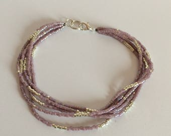 Bracelet 5 rows colors purple iridescent and silver size L