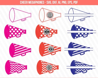 Cheer megaphone svg, Cheerleading svg, Cricut, silhouette ,Megaphone Monogram Frames for Vinyl Cutters,  Cheerleader Cut File