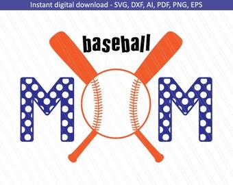 Baseball Mom SVG, Sports svg, Baseball shirt, cricut, baseball svg, Team mom- Instant digital Download - SVG, Dxf, Ai, Eps, Pdf, PNG