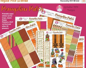 Sticker sale Pumpkin Patch printable super sticker set for Happy Planners, ECLP and other A5 planners